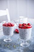 Vegan chia pudding with strawberries