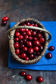 Fresh cranberries in a basket