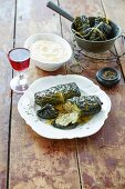 Savoy cabbage roulade filled with mushrooms and almond puree