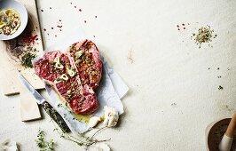 Marinated T-bone steak