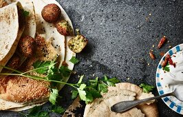 Flatbreads and naan bread with falafel
