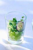 Green gazpacho in a glass