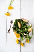 Dandelion salad with apple and quinoa (top view)