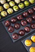 Several chocolate truffles