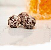 Truffle pralines with light and dark chocolate