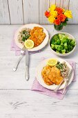 Fried turkey slices with barley and broccoli