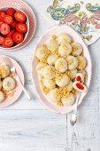 Sweet potato dumplings filled with strawberries