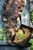 Grilled churrasco ribs with Farofa (Brazil)