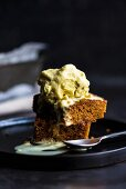 Turmeric ice cream on brownies