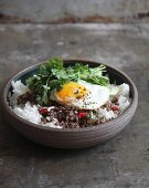 Pad kra Pao (mince with basil and a fried egg, Thailand)