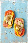 Ciabatta with Serrano ham, avocado and tomato