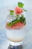 A refreshing cocktail with watermelon and mint