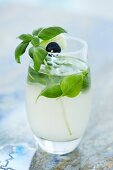 A refreshing cocktail with cucumber and basil
