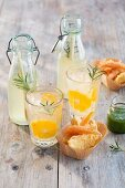 Lemon and rosemary lemonade with lemongrass served with vegetable tempura with mint sauce