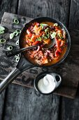 Mexican sweet potato chili with peppers and kidney beans