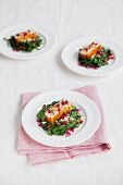 Halloumi with spinach and pomegranate seeds