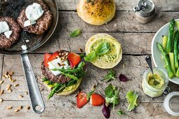 Ingredients for making beef burgers