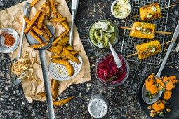 Various side dishes to serve with burgers