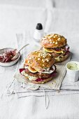 Burgers with pork, goat's cheese, fig, radicchio, and shallot confit