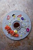Salmon sashimi served artistically on a plate (Japan)