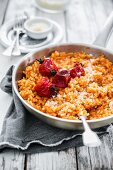 Tomato risotto with baked tomatoes
