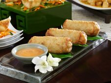 Fried spring rolls with a dip