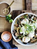 Roast Mushrooms with caramelised fennel, onions, eggs and dates