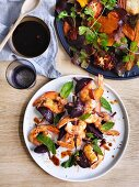 Grilled Prawns and beetroot with chilli and smouldering cinnamon