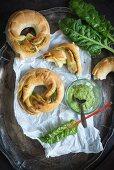 Hearty doughnuts with chard pesto (vegan)