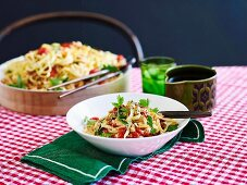 Crab Linguine with chilli and tomatoes