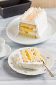 Mango and coconut cake, sliced