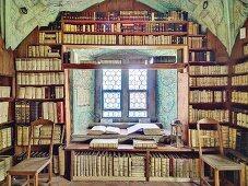 Prädikantenbibliothek (library housing historical letters and books) in Isny, tower room of the Nikolai Church, Baden-Württemberg, Allgäu, Germany