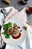 Freekeh-stuffed fillet of beef with red wine jus