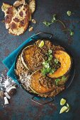 Lentil curry with fried pumpkin slices