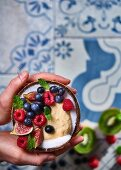 Sweet hummus with coconut, yoghurt and ginger