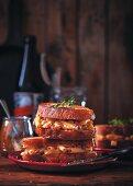 Ciabatta toasties with macaroni, cheese, and bacon