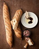 Fresh baguettes with a dip