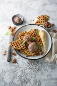 Parsnip buttermilk waffles with orange chocolate ice cream