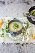 Thai green curry soup with parsnips and coconut milk