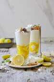 Milkshakes with vanilla ice cream, lemon curd and meringues