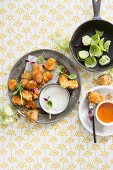 Brussels sprout nuggets with two dips