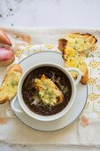 French onion soup with baked cheese croutons