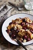 Cherry ofenschlupfer (bread pudding) with almonds