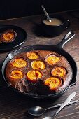 Chocolate and apricot clafoutis in a cast-iron pan