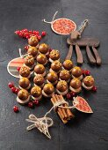 Chocolate truffles filled with foie gras and ganache, arranged in the shape of a Christmas tree