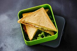 Take out food Sandwiches in Lunch box on blackboard background
