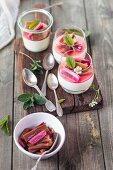 Panna cotta with roasted rhubarb
