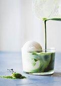 Matcha Affogato: vanilla ice cream with matcha tea