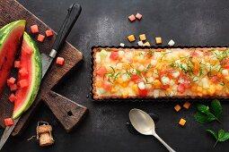 Colourful melon tart