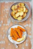 Fish fingers with baked potatoes